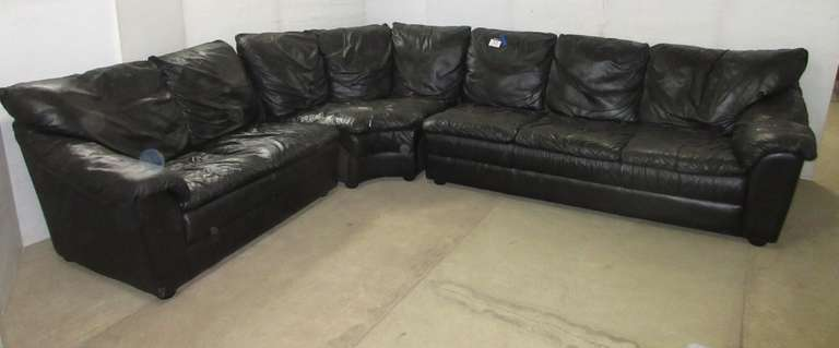 Three-Piece Black Leather Sectional