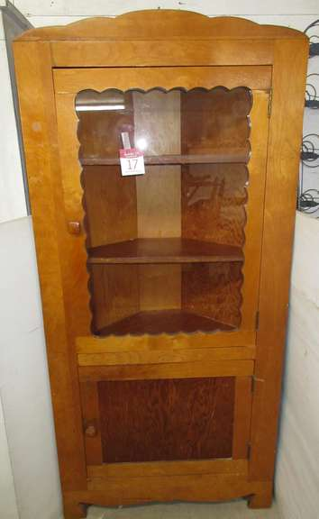Older Oak Corner Cabinet with Scalloped Details, Glass Upper with Two Shelves