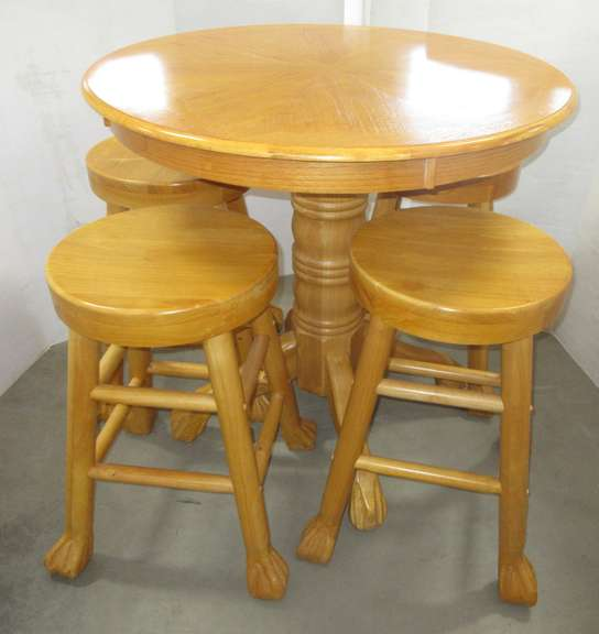Pub Table and (4) Stools, All Wood