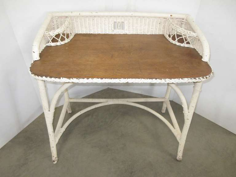 Older White Wicker Desk