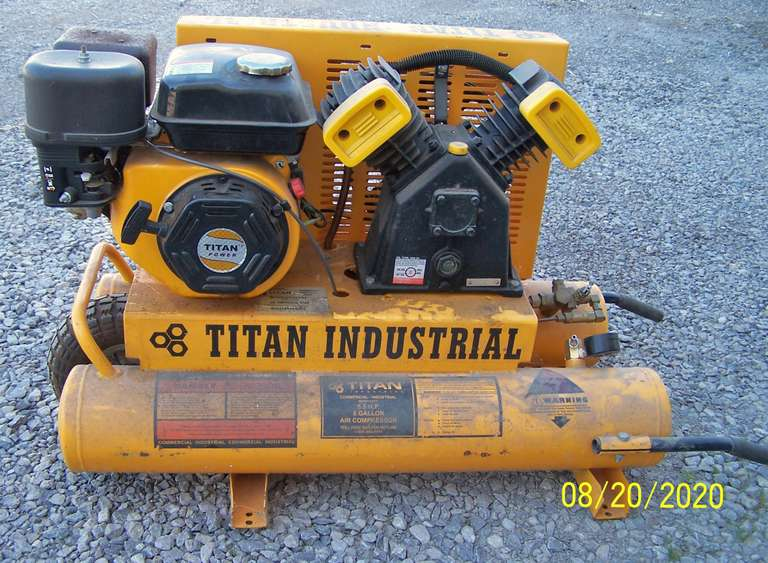 Titan Industrial Gas Powered Air Compressor, Low Usage