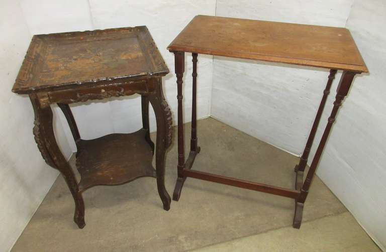 "Antique Table, 17""W x 27""H; Small End Table, 23""W x 15""D x 30""H"