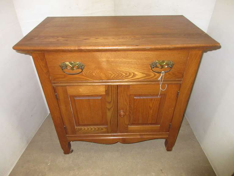 Solid Oak Cabinet with a Drawer, Swing Doors on Bottom