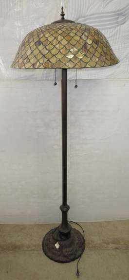 Torchiere Floor Lamp, Tiffany Style Glass