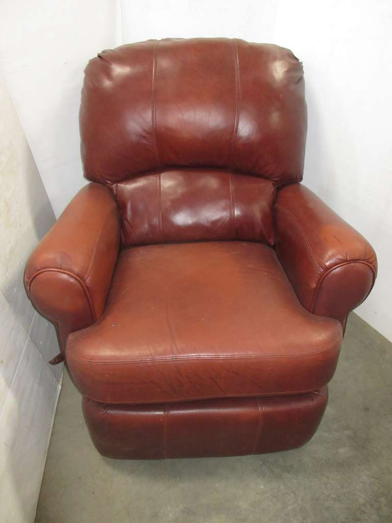 Leather Recliner Chair, Wine Color