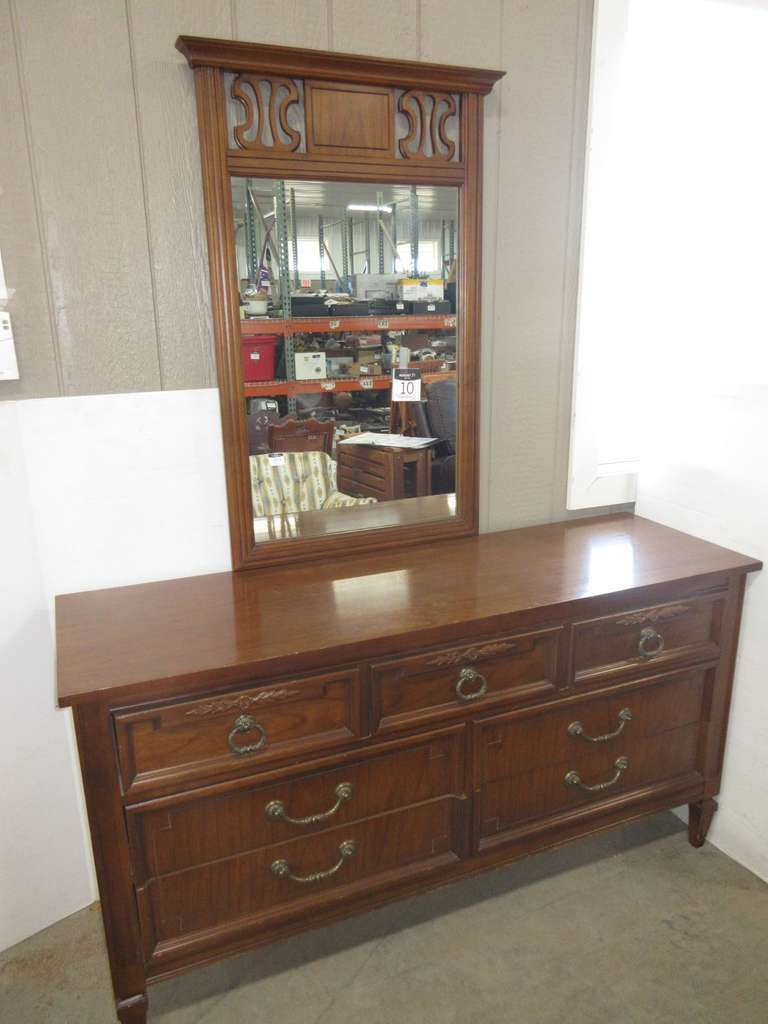 Dresser with Mirror, Matches Lot Nos. 8 and 9
