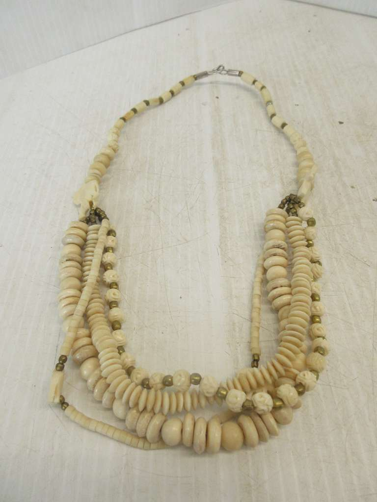 Albrecht Auctions Antique Carved Bone Tribal Elephant And Rose Four Strand Chunky Necklace