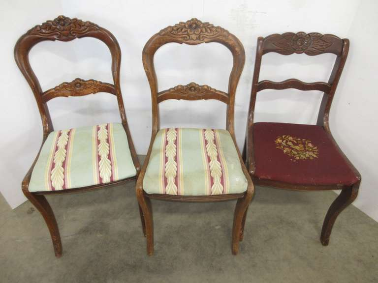(3) Antique Rose Back Chairs