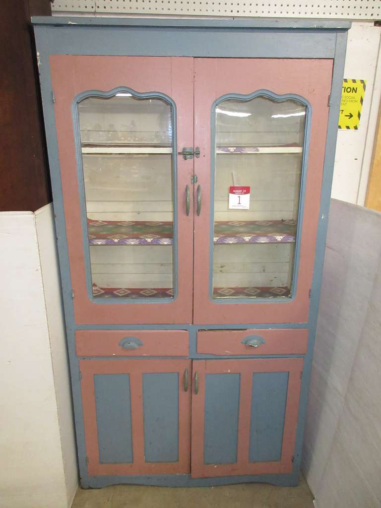 Antique Wood Cabinet with Two Glass Doors