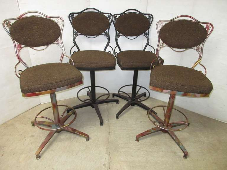 (4) High Back Chairs, Metal with Cushioned Seats and Back, Frames are Painted Differently