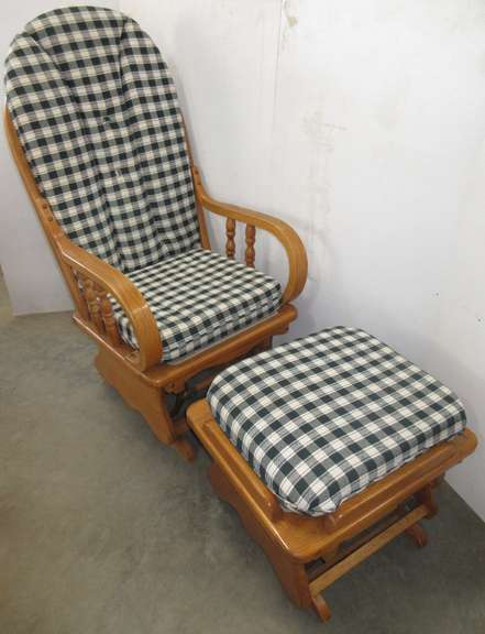 Solid Wood Glider/Rocking Chair with Matching Ottoman
