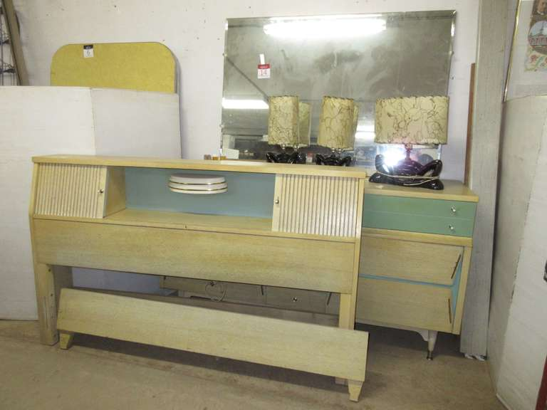 "Mid 1950s Bed; Mid 1950s Dresser, 60""W x 19""D x 32""H; (3) Matching Lamps with Shades, 16""H"