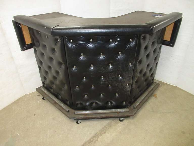 Leather Studded Corner Bar on Casters