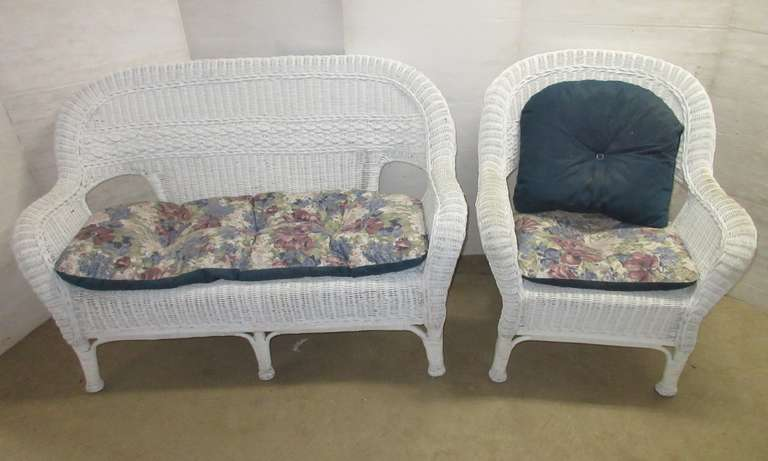Genuine White Wicker Loveseat and Chair
