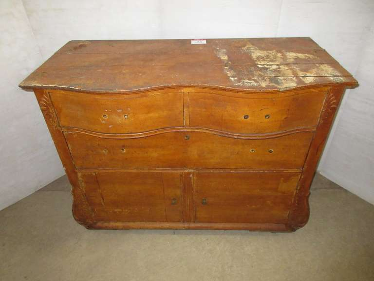 Antique Wood Dresser with Three Drawers and Two Doors