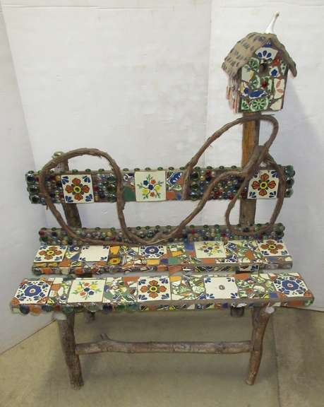 Decorative Grapevine Wood and Tile Porch Bench with Birdhouse