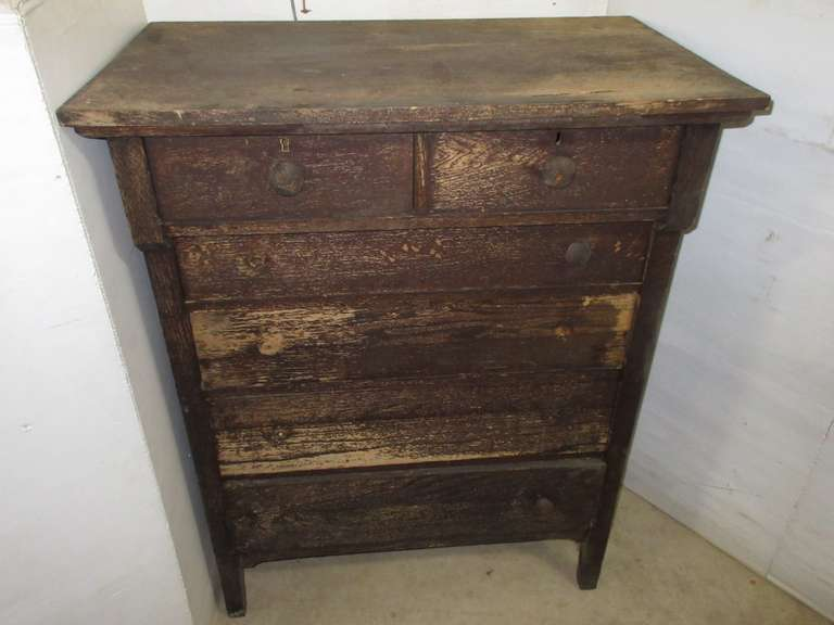Primitive Antique Wood Dresser with Six Drawers