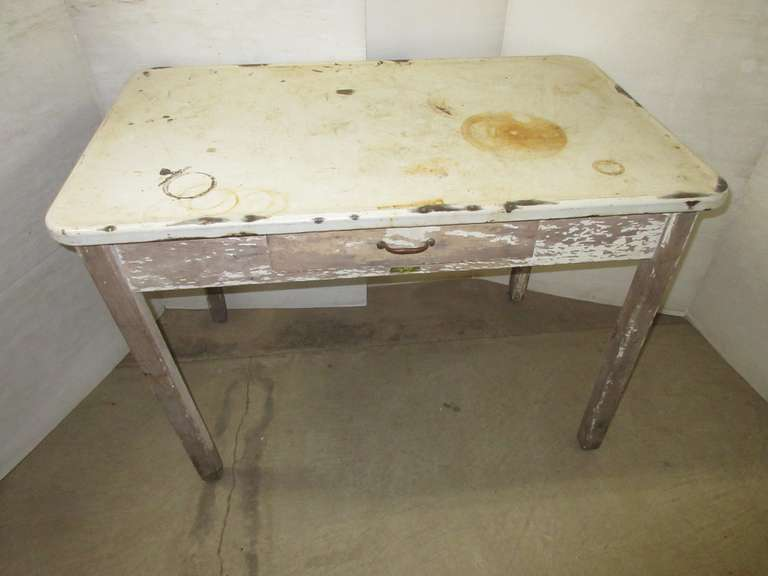 Older Farm Enamel Top Table with One Drawer, Robbins Furniture, Owosso