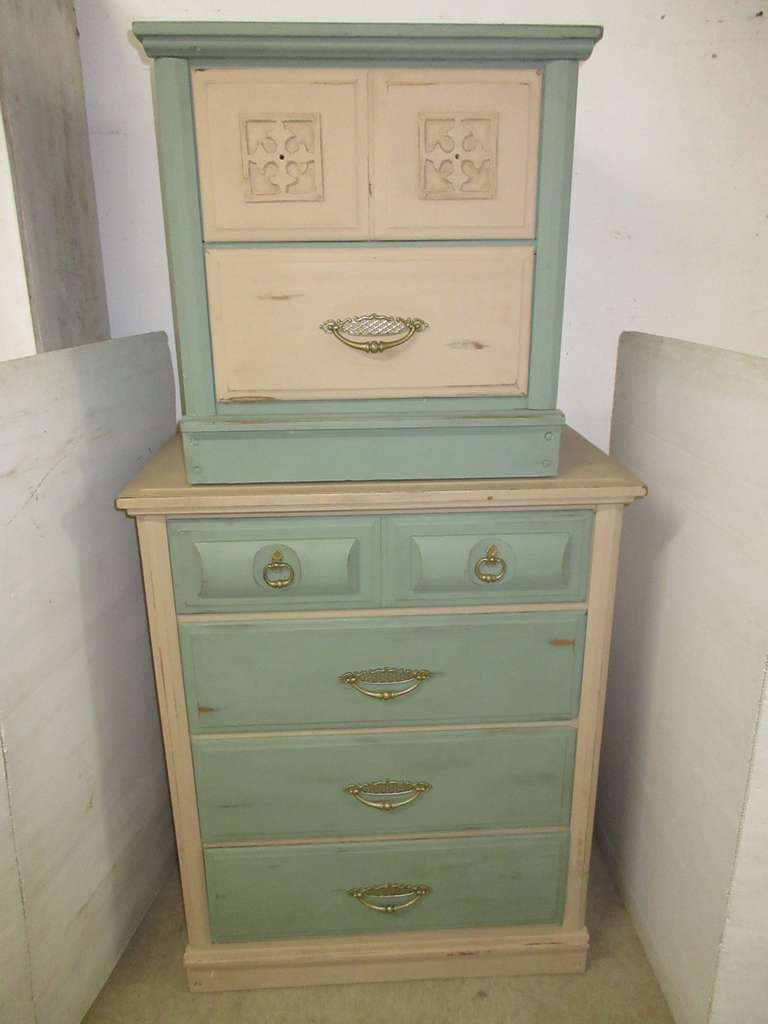 Dresser and Night Stand, Chalk Painted and Waxed, Can be Stacked and Used as a Single Unit