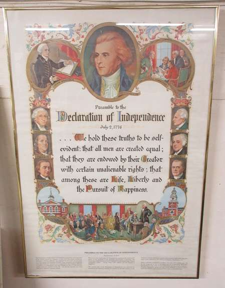 Declaration of Independence Preamble in Aluminum Frame, Washington, Jefferson, Adams, and More
