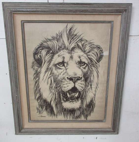 Black and White Lion Print