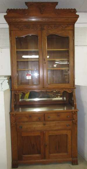 Antique Two-Piece China Cabinet