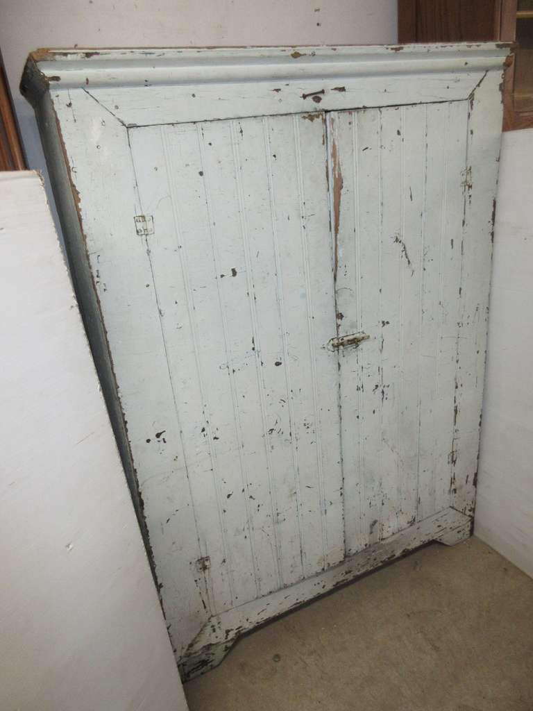 Antique Wood Cabinet with Original Paint