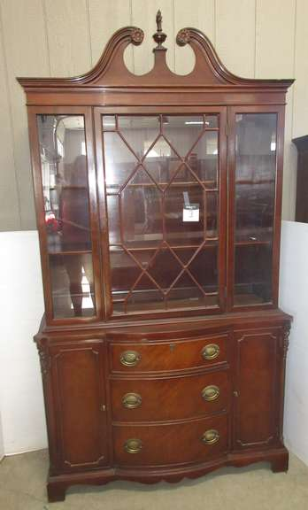 Older Tall China Cabinet Hutch with Two Inside Shelves, Three Drawers, Dark Wood Finish, Ornate Top