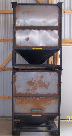 Steel Hopper Boxes with Slide Gate and Cleanout Door, Stackable, Approx. 30-Bushels, Set of Two