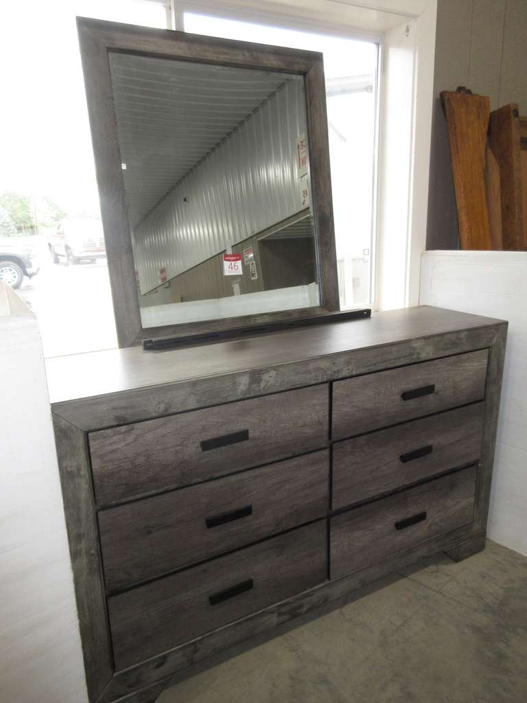 Long Six-Drawer Gray Wood Rustic Style Bedroom Dresser with Matching Mirror, Upper Drawers are Felt Lined, Matches Lot No. 45 and 47