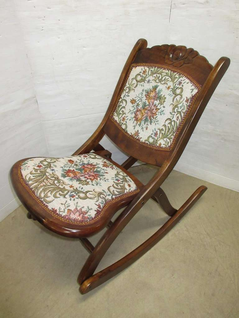 Pro-Crafts Products Carved Wood and Upholstered Folding Chair