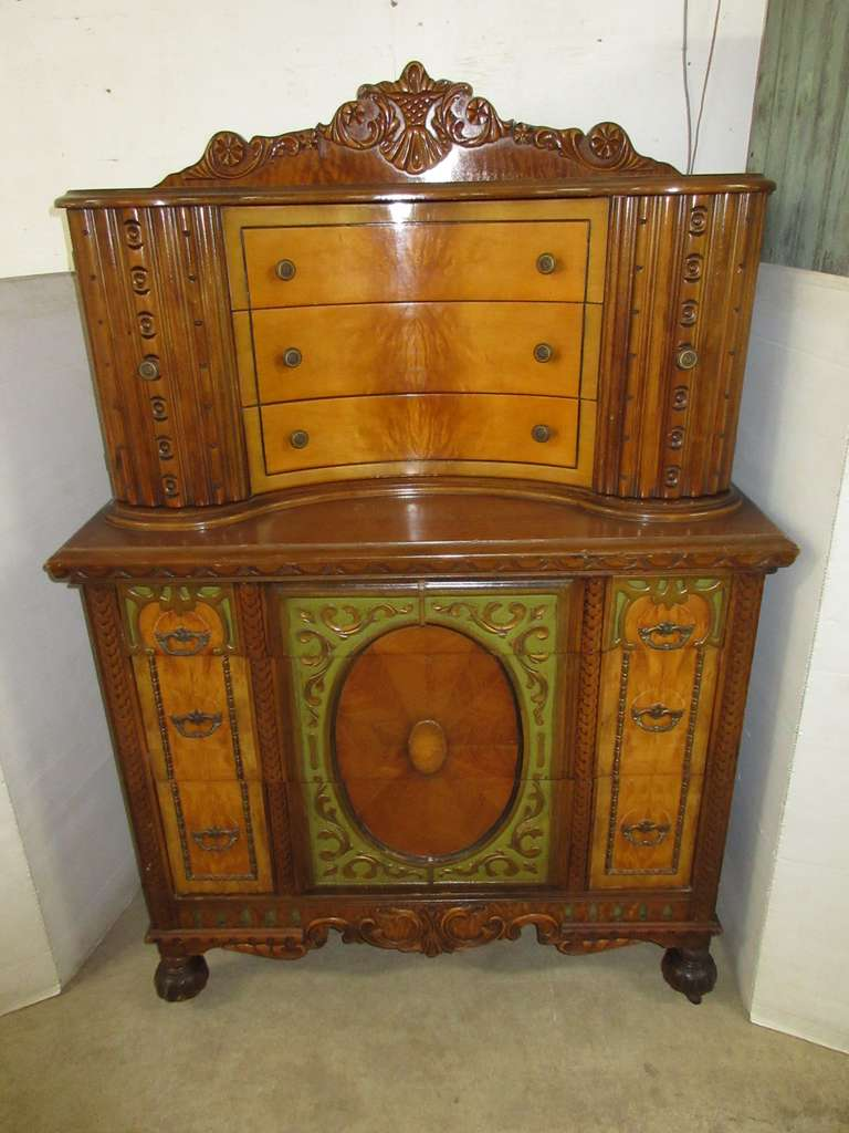 Ornate Wood Dresser Hutch Cabinet, Multi-Colors of Stain on Wood, Has Six Drawers and Two Arch Doors, Ball Feet with Wood Casters, Extra Set of Rosette Coasters in Drawer, Very Detailed