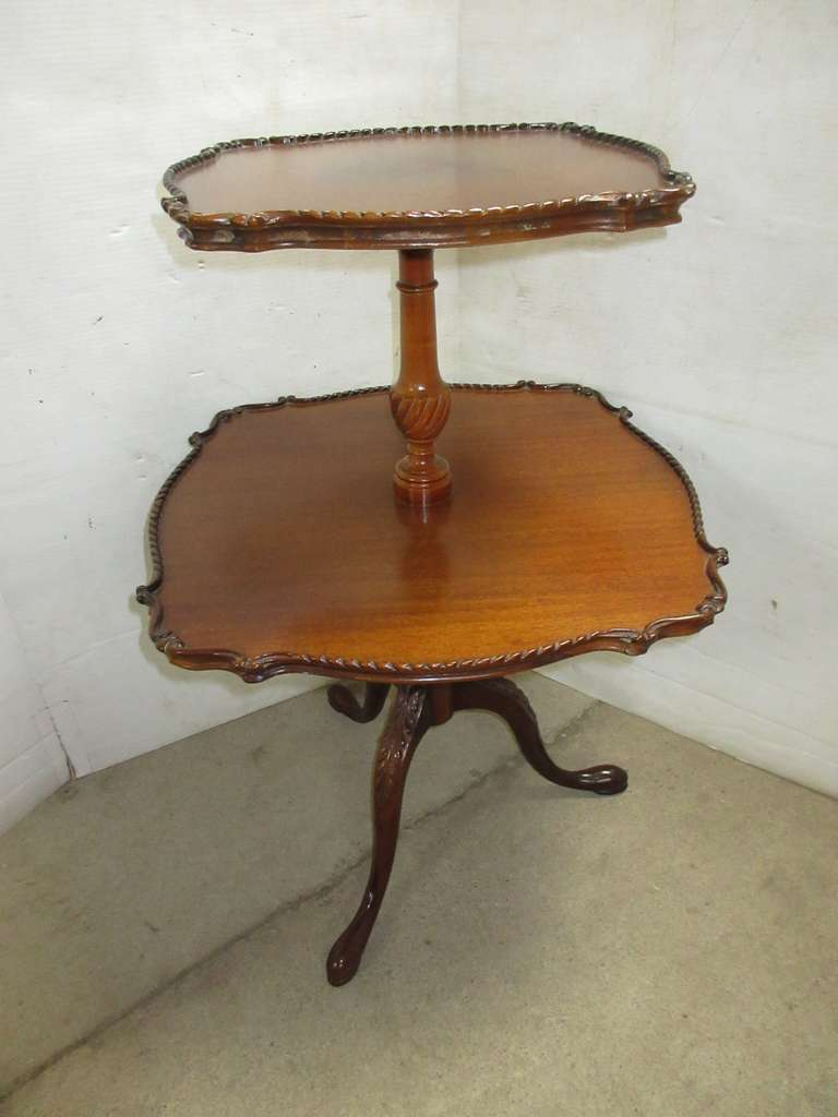 Older Two-Tier Hand Carved Pie Crust Accent/Side Table