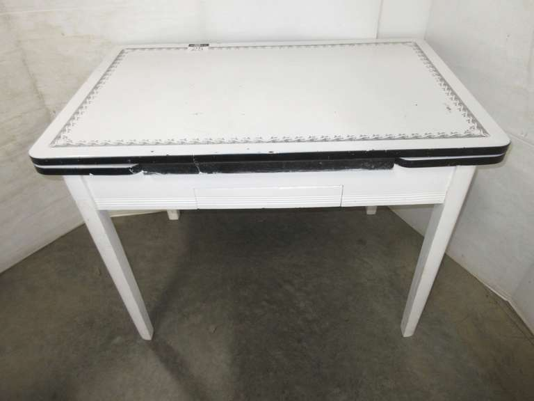 Older Porcelain Top Table, Sides Pull Out