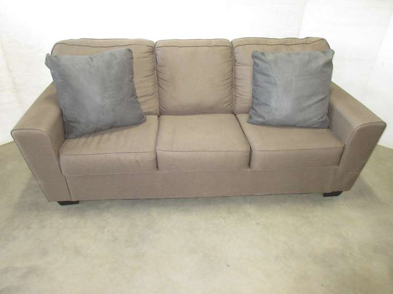 Brown Ashley Furniture Large Living Room Sofa Couch with Matching Gray Accent Pillows