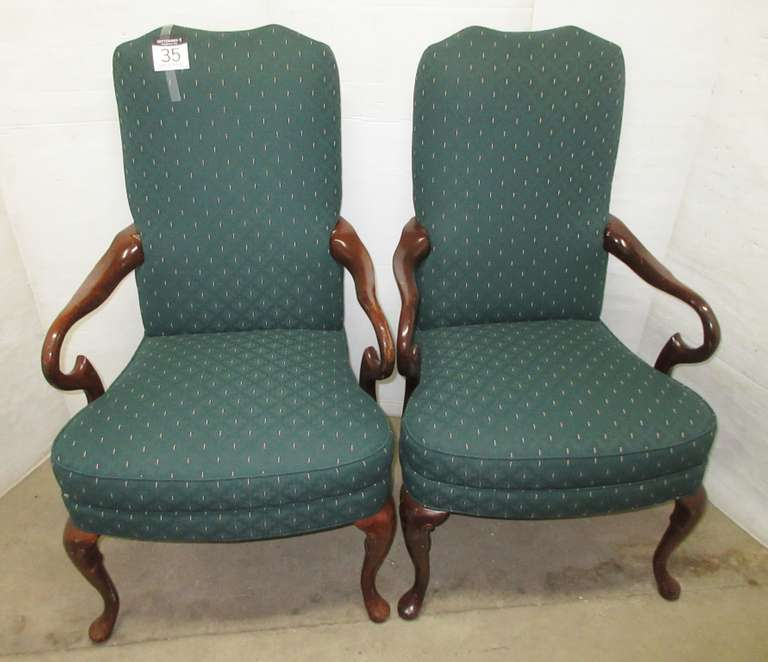 (2) Arm Chairs, Heavy, Wood Arms and Legs