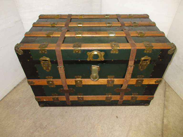 Antique Flat Top Steamer Trunk/Chest, Inside Lined with Contact Paper