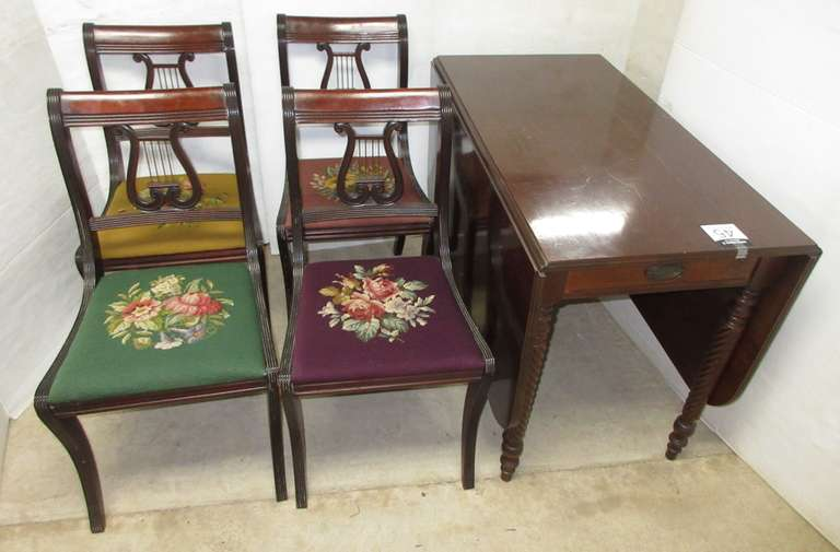 Older Drop Leaf Dining Table and (4) Chairs