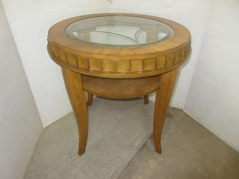 Oak End Table with Glass Top, Matches Lot No. 18