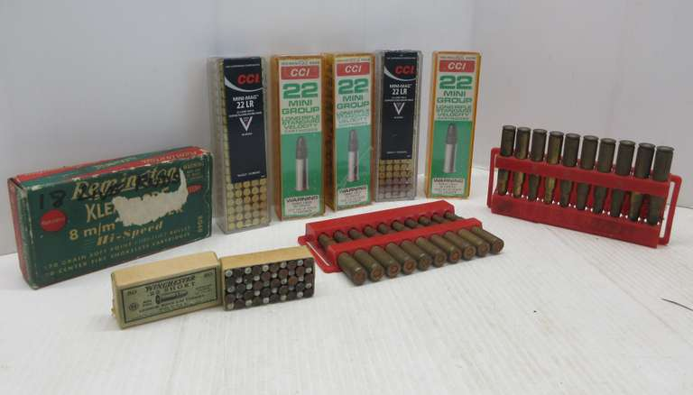 (550) Rounds of .22 Ammo: Approx. 475- Long and 75- Short; (17) Rounds of Remington 8mm Mauser; (20) Rounds of Federal 30-06