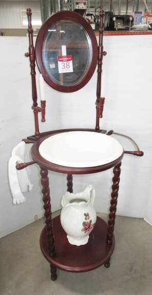 Older Oak Wash Basin Stand with Mirror and Candle Holders, Hand Painted Water Basin and Pitcher