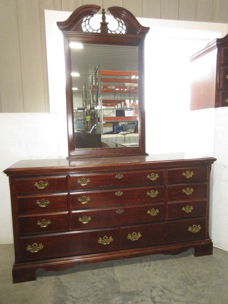Cherry Queen Anne Style Dresser with Mirror, Matches Lot No. 17, 18, and 19