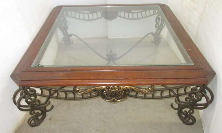 Cast Iron with Glass Top Coffee Table, Wood Trim, Matches Lot No. 6774