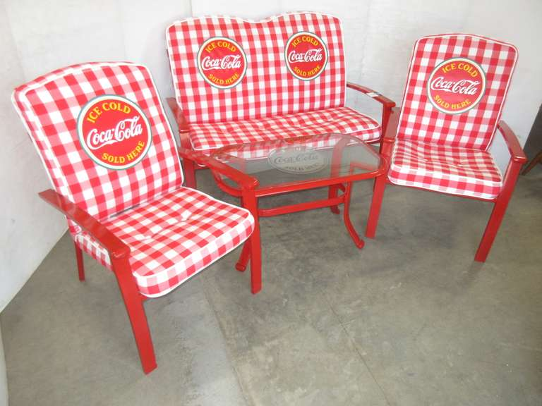 "Coca-Cola Glass Top Table, ""Ice Cold Coca-Cola Sold Here with Logo"", 34"" x 20""; Matching Bench and (2) Chairs, Bench- 50""W, Chairs- 25""W, Kept Indoors, Light Wear, Like New"