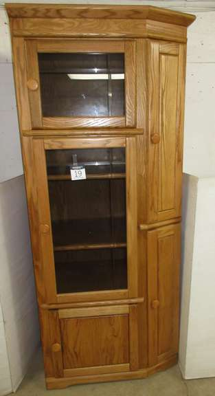 Oak Curio Cabinet with Wooden Shelves, Matches Lot No. 18
