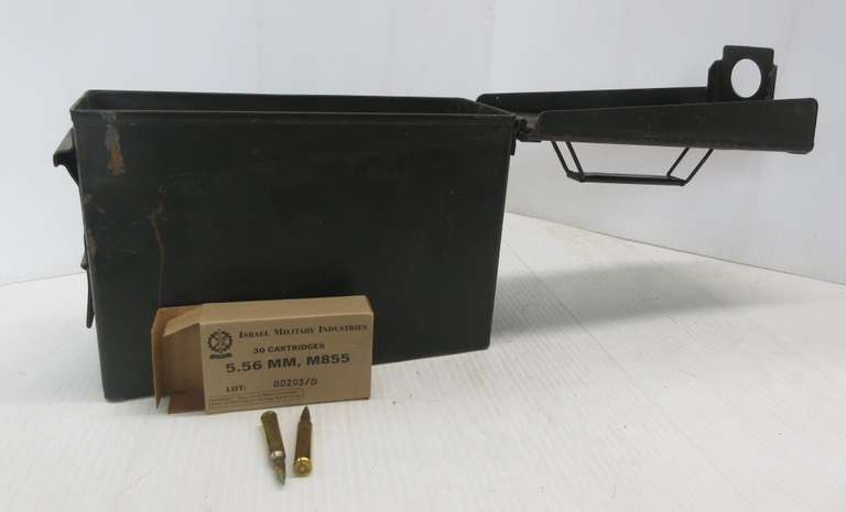 (15) Boxes of 5.56mm M55 Green Tip AP Ammo in an Ammo Can, 450 Total