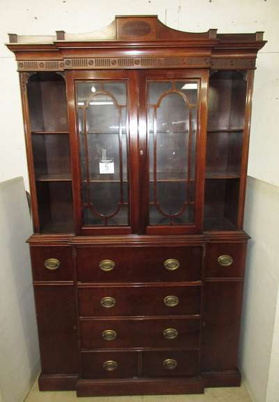 Maddox Colonial China Cabinet/Secretary Desk, (2) Keys Included, Keys in Office