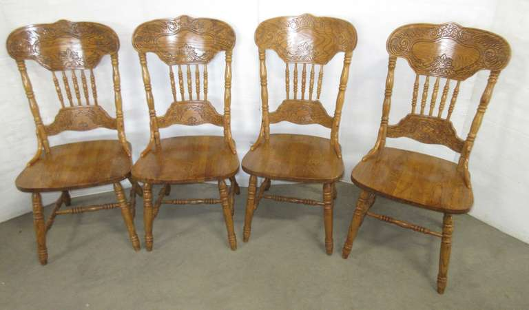 Set of (4) Oak Wood Ornately Carved Dining Room Table Chairs