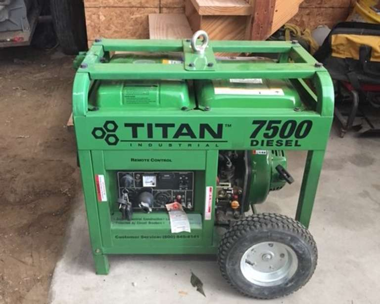 Titan 7500 Watt Diesel Generator, (Only 14 Hours on Unit), Electric and Remote Start