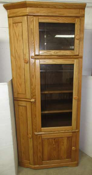 Oak Curio Cabinet with Wooden Shelves, Matches Lot No. 19